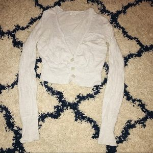 AEO Light Gray Long Sleeve Cropped Cardigan